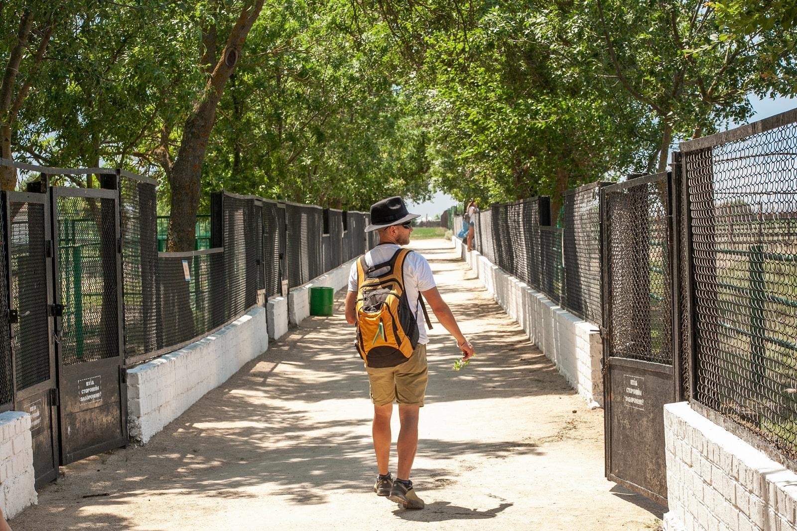Турист в зоопарку Асканія-Нова