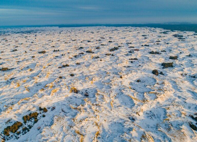 панорамний краєвид на зимову пустелю Олешківські піски