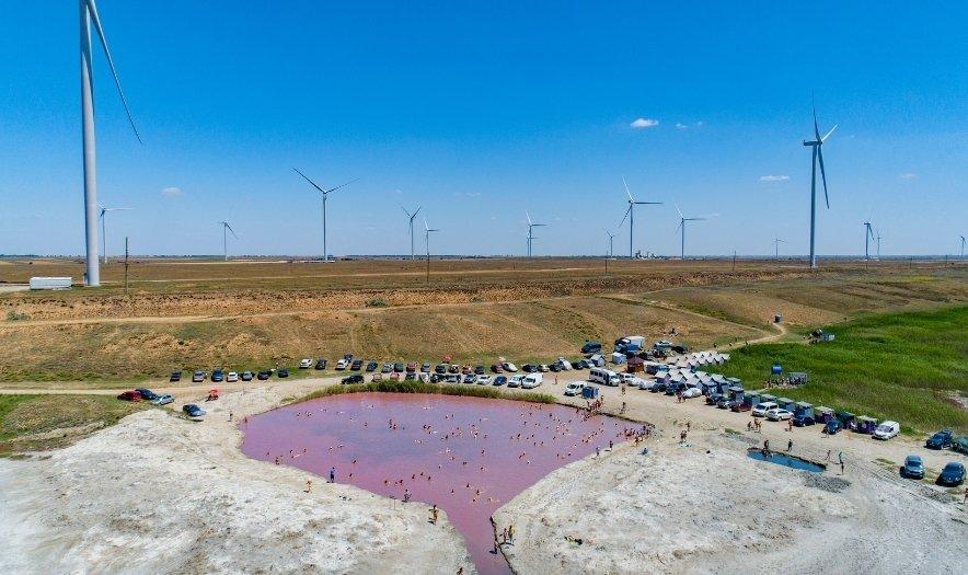 Розовое озеро около села Григорьевка
